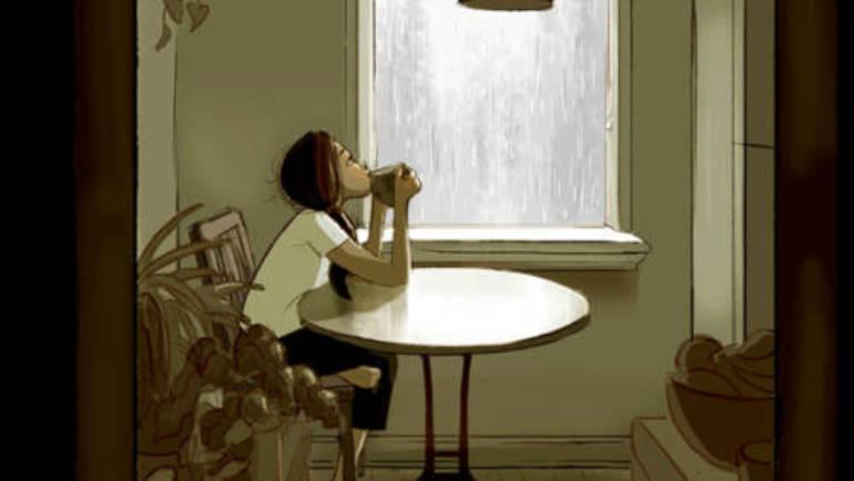 Té caliente floreciente, días lluviosos y buenos libros